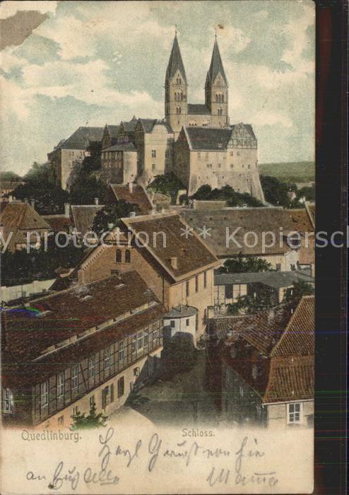 Quedlinburg Blick zum Schloss Schlosskirche Kat. Quedlinburg