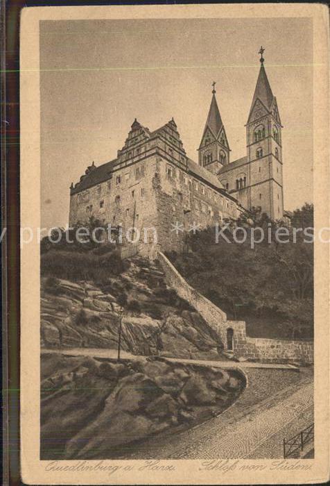 Quedlinburg Blick zum Schloss Kupfertiefdruck Kat. Quedlinburg