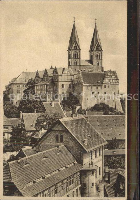 Quedlinburg Blick zum Schloss und Schlosskirche vom Muenzenberg Geschichte Kat. Quedlinburg