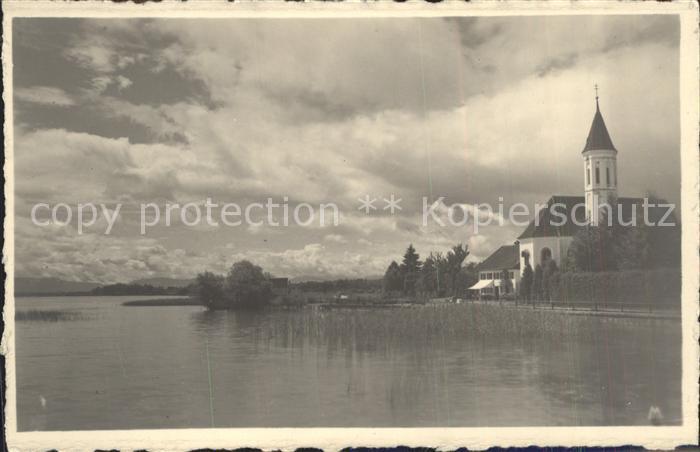 Diessen Ammersee Ansicht vom See aus Kirche Kat. Diessen a.Ammersee