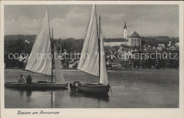 Diessen Ammersee Ansicht vom See aus Segelboot Kloster Kat. Diessen a.Ammersee