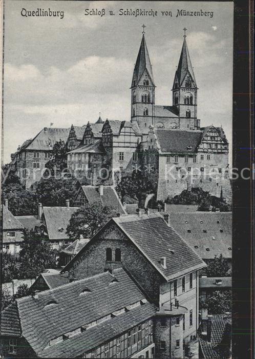 Quedlinburg Schloss und Schlosskirche Blick vom Muenzenberg Kat. Quedlinburg