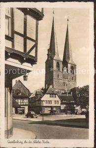 Quedlinburg Partie an der Nikolaikirche Kat. Quedlinburg