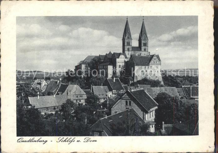 Quedlinburg Stadtbild mit Schloss und Dom Kat. Quedlinburg