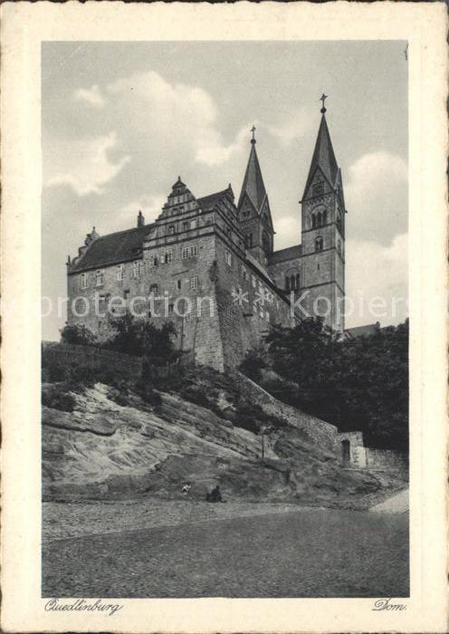 Quedlinburg Schloss und Dom Kupfertiefdruck Kat. Quedlinburg