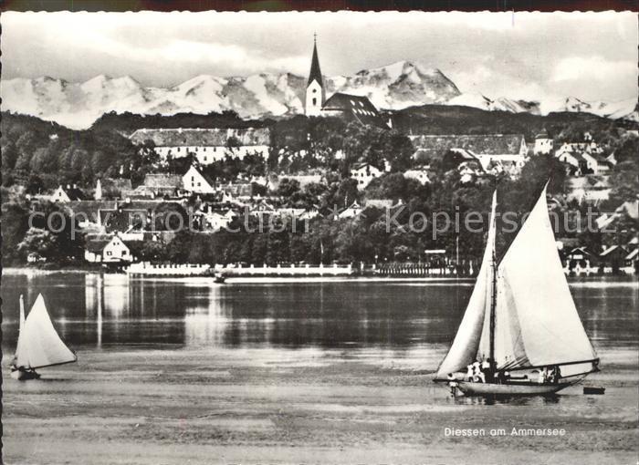 Diessen Ammersee Ansicht vom See aus Zugspitze Alpenkette Segelboot Wassersport Kat. Diessen a.Ammersee