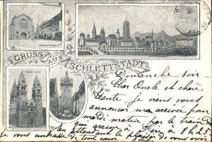 Schlettstadt Kornmarkt St Fideskirche neuer Turm Kat. Selestat