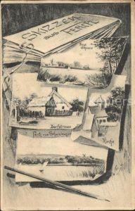 Ferch Neue Scheune, Dorfstrasse, Kirche, Ferch vom Schwielowsee / Schwielowsee /Potsdam-Mittelmark LKR
