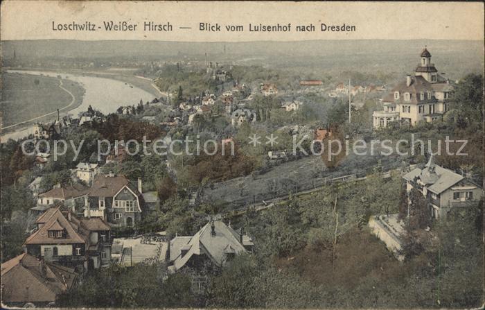 Loschwitz Weisser Hirsch Blick vom Luisenhof nach Dresden Kat. Dresden