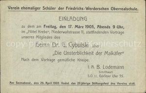 Berlin Einladung Schuelerverein Friedrichs Werderschen Oberrealschule Kat. Berlin