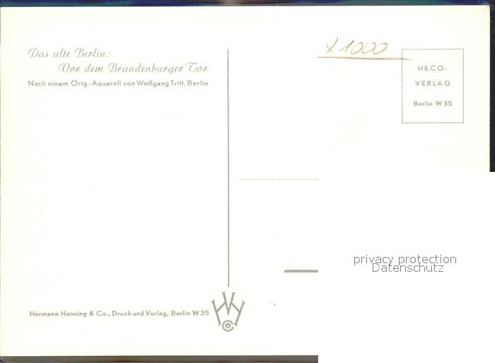 Berlin Brandenburger Tor nach einem Orig Aquarell von Wolfgang Tritt Kat. Berlin 1