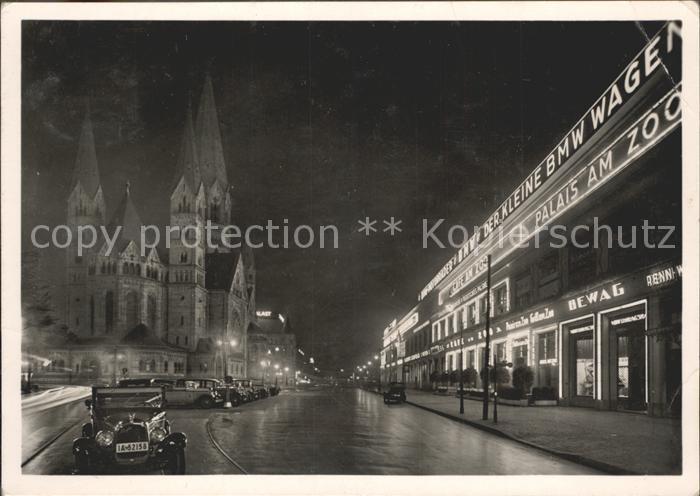 Berlin Kaiser Wilhelm Gedaechtniskirche Budapester Strasse Kat. Berlin