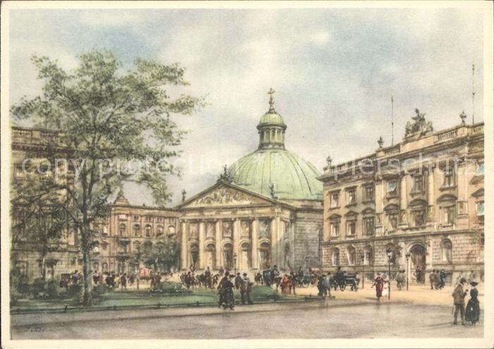 Berlin St Hedwigs Kathedrale nach einem Orig Aquarell von Wolfgang Tritt Kat. Berlin