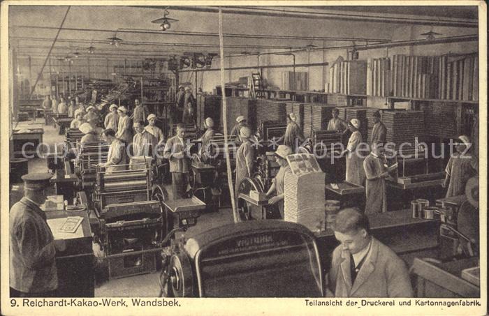 Wandsbek Reichardt  Kakao  Werk Druckerei Kartonnagenfabrik Kat. Hamburg