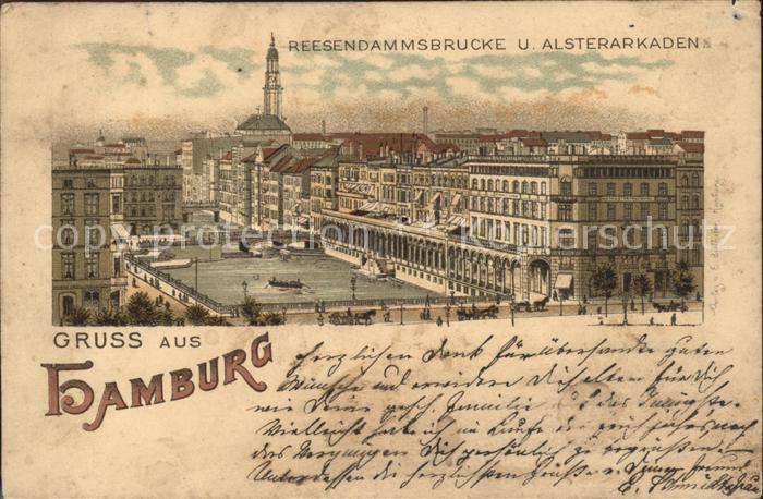Hamburg Reesendammbruecke Alsterarkaden Kat. Hamburg