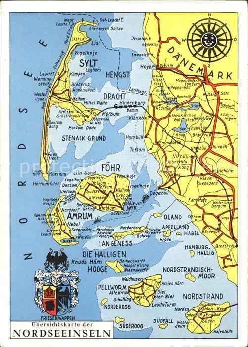 Nordfriesische Inseln Karte.Insel Foehr Uebersichtskarte Nordfriesische Inseln Kat Wyk Auf Foehr