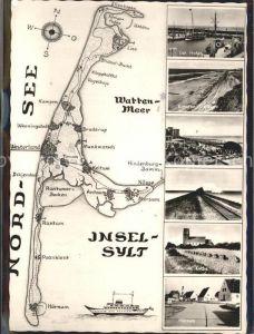 Insel Sylt Karte der Insel  Kirche in Keitum Hoernum Westerland List Kat. Westerland