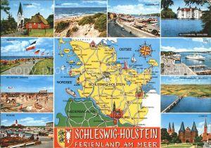 Schleswig Holstein Ansichten und Land Karte Kat. Schleswig