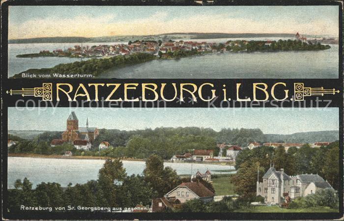 Ratzeburg Blick vom Wasserturm und von Sankt Georgsburg aus Kat. Ratzeburg