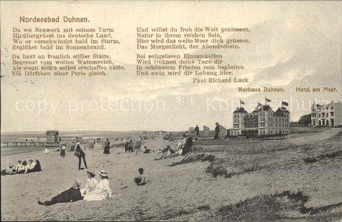Duhnen Nordsee Kurhaus Duhnen Hotel am Meer Gedicht Kat. Cuxhaven