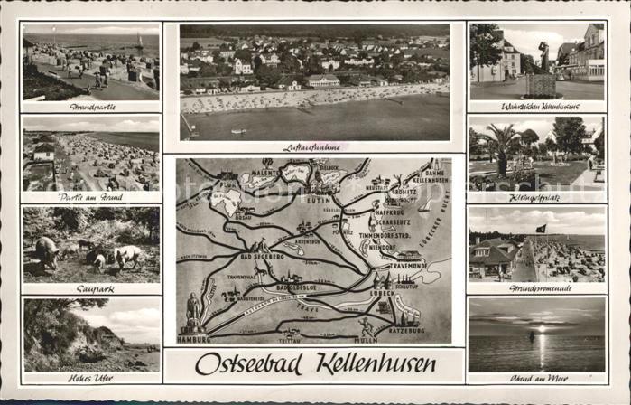 Kellenhusen Ostseebad Strandpartie Fliegeraufnahme Wahrzeichen Saupark Minigolf Promenade Lageplan Kat. Kellenhusen (Ostsee)