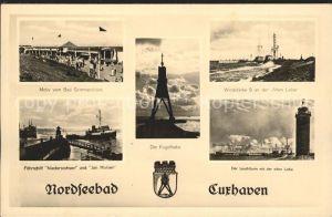 Cuxhaven Nordseebad Bad Grimmershoern Kugelbake Windstaerke 9 Alte Liebe Faehrschiff Niedersachsen Leuchtturm Kat. Cuxhaven