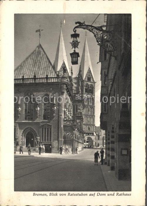 Bremen Blick von Ratsstuben auf Dom Rathaus Kat. Bremen