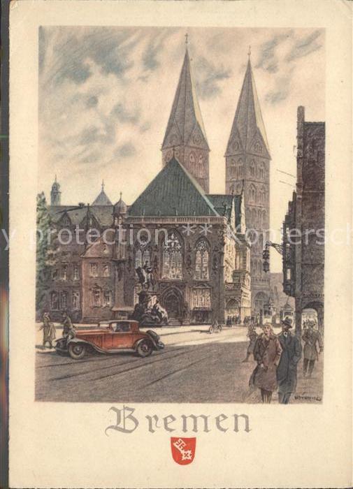 Bremen Kuenstlerkarte Teilansicht Kat. Bremen