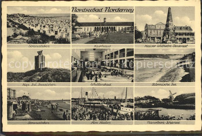 Norderney Nordseebad Strandleben Kurhaus Kaiser Wilhelm Denkmal Kap Wellenbad Brandung Strand Hafenpartie Napoleonschanze Kat. Norderney