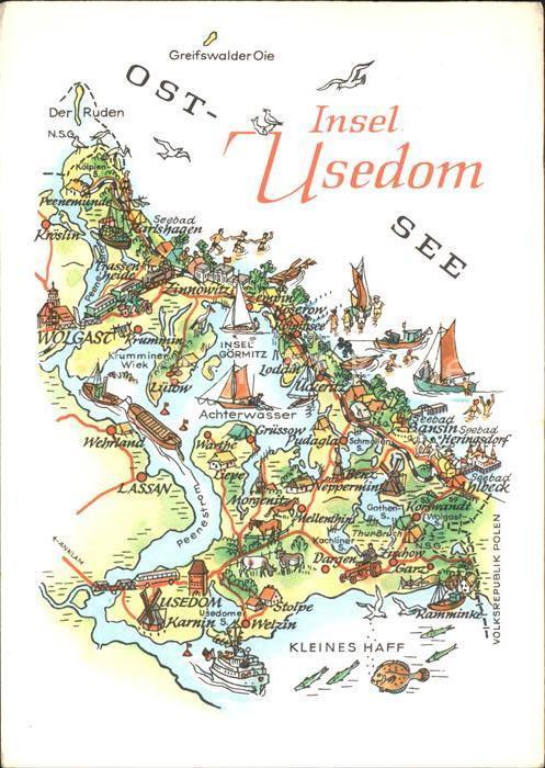 Usedom Landkarte Lassan Loddin Krummin Garz Pudagla  Kat. Usedom