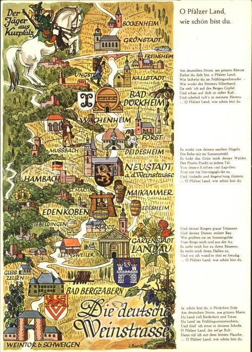 Edenkoben Deutsche Weinstrasse Karte mit anliegenden Orten Kat. Edenkoben