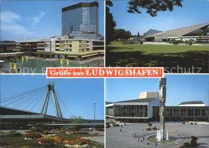 Ludwigshafen Rhein Rathauscenter Hauptbahnhof Pfalzbau Friedrich Ebert Halle Kat. Ludwigshafen am Rhein