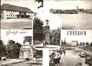 Emmerich Rhein Bahnhof Rheinpartie Zollamt Zollhafen Kriegerdenkmal Kat. Emmerich am Rhein