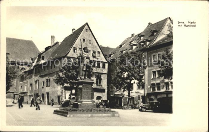 Jena Markt mit Hanfried Denkmal Kat. Jena
