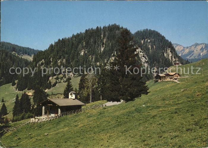 Alpnach Dorf Luetholdsmatt mit Kapelle und Ferienheim Stock Kat. Alpnach Dorf