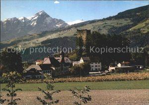 Paspels Ortsansicht mit Kirche Burgruine Piz Beverin Kat. Paspels