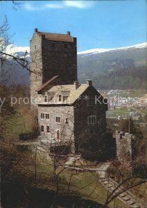 Sils Domleschg Jugendherberge Burg Ehrenfels Blick gegen Thusis Heinzenberg Piz Beverin Kat. Sils Domleschg