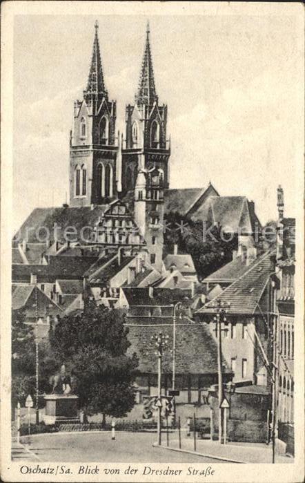 Oschatz Blick von Dresdner Strasse Kat. Oschatz