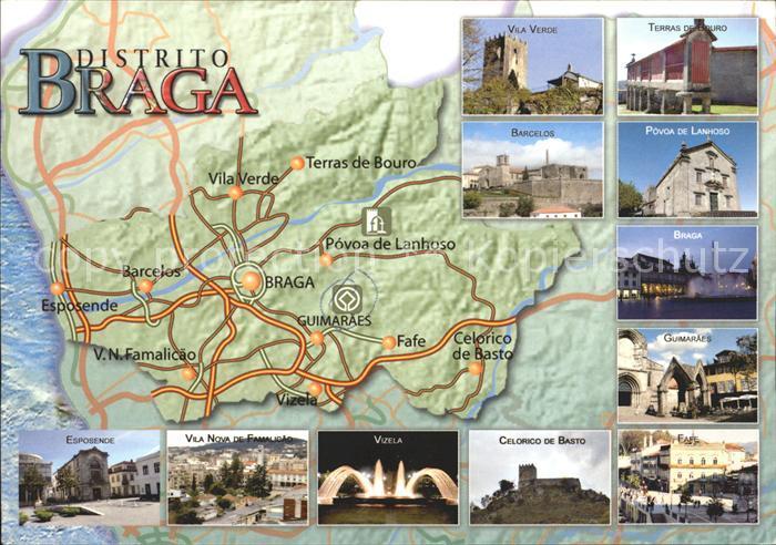 Braga Landkarte und Sehenswuerdigkeiten Kat. Braga
