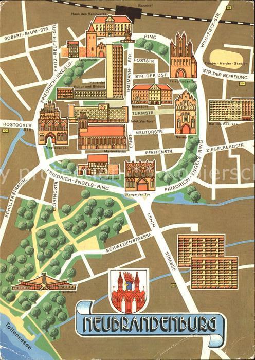Neubrandenburg Stadtkarte Kat. Neubrandenburg