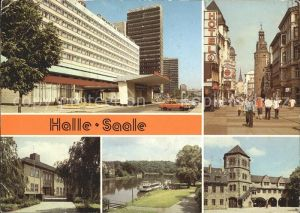 Halle Saale Interhotel Stadt Halle Klement Gottwald Str Paed Hochschule Dampferanlegestelle Moritzburg Innenhof Kat. Halle