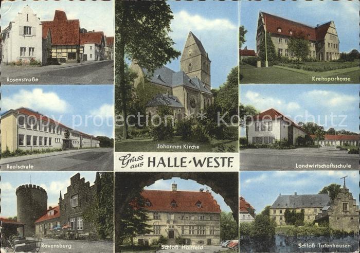 Halle Saale Rosenstrasse Realschule Johannes Kirche Kreissparkasse Landwirtschaftsschule Ravensburg Schloss Holtfeld Schloss Tatenhausen Kat. Halle
