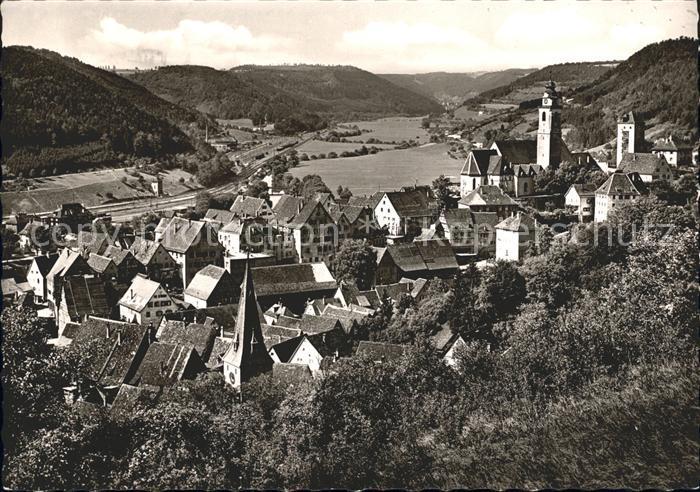 Horb Neckar Ortsansicht mit Kirche Kat. Horb am Neckar