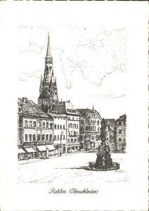 Ratibor Oberschlesien Ring Mariensaeule Rathaus Dominikanerkirche  Kat. Raciborz
