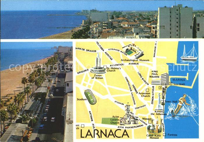 Larnaca Teilansichten Stadtplan Kat. Larnaca Cyprus