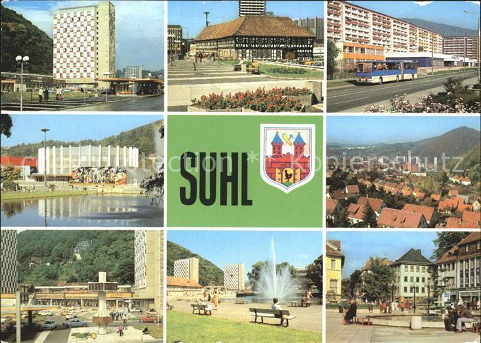 Suhl Thueringer Wald Wilh Pieck Str Waffenmuseum Strasse der DSF Stadthalle Dellberg Digitaluhr Steinweg Springbrunnen Kat. Suhl