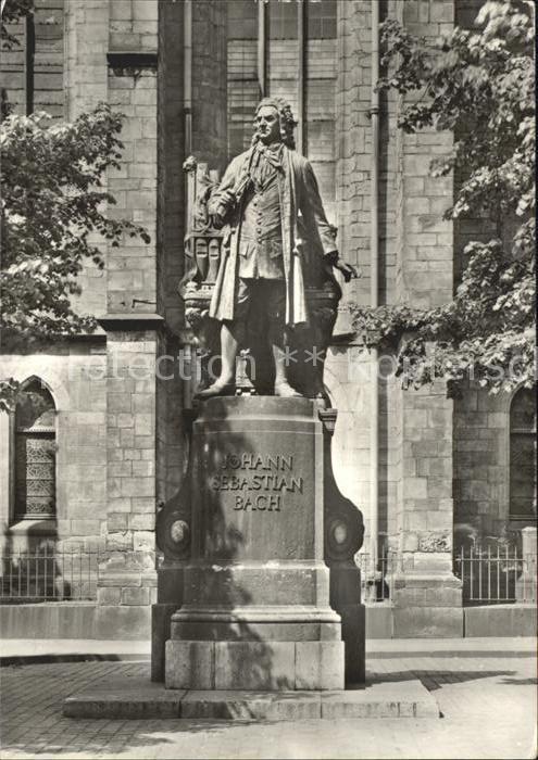 Leipzig Bach Denkmal vor der Thomaskirche Kat. Leipzig