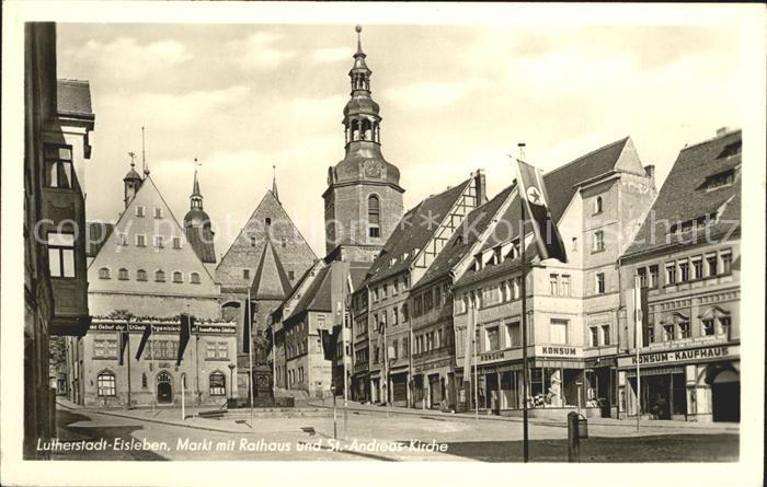 Eisleben Markt Rathaus Sankt Andreas Kirche Kat. Eisleben