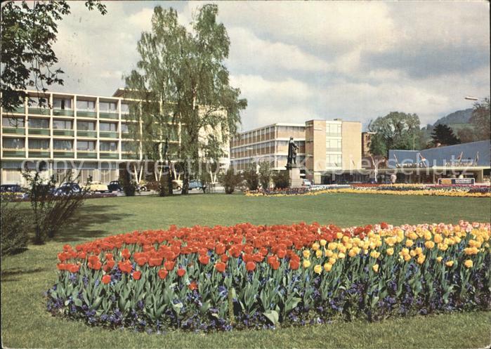 Reutlingen Friedrich List Platz mit Parkhotel Tulpenbeet Kat. Reutlingen