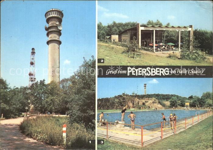 Petersberg Halle FernsehaussichtsturmFensehpavillonBergbad Kat. Petersberg Halle